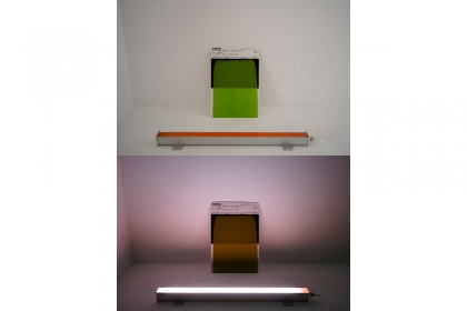 SCW-30 version 1 5/5 (2019) | 51 x 7,5 x 4 cm & 2 x 19,4 x 28,9 cm | fluorescent LED fixture - two coloured samples & notes on paper