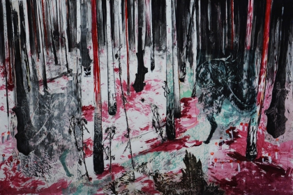 Red forest (2018) | 240 x 366 cm | charcoal - woodcut - acrylic
