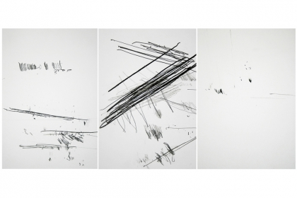 Composition from the series of pianosketches (2011) |	29,7 x 21 cm (x3) - framed | pencil on 224 g/m2 Canson paper