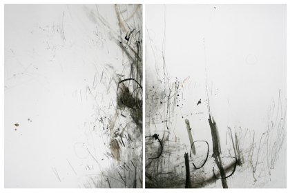Rehearsel fragments #1 & #2 (2013) | 45,7 x 34,5 x 45,7 x 34,4 cm - framed | pencil - graphite - charcoal - ink - acrylic on 224 g/m2 Canson paper