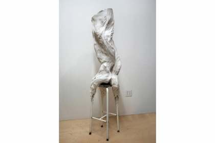 Myofibril #I (2014) | 178 x 60 x 66 cm | hydrostone - mesh wire - cheese cloth - found stool